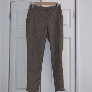 Fitted Plaid Trousers with Ankle Zippers